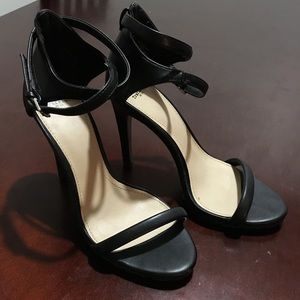Zara Black Strappy Heeled Sandals