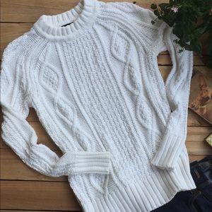 J Crew White Fisherman Sweater