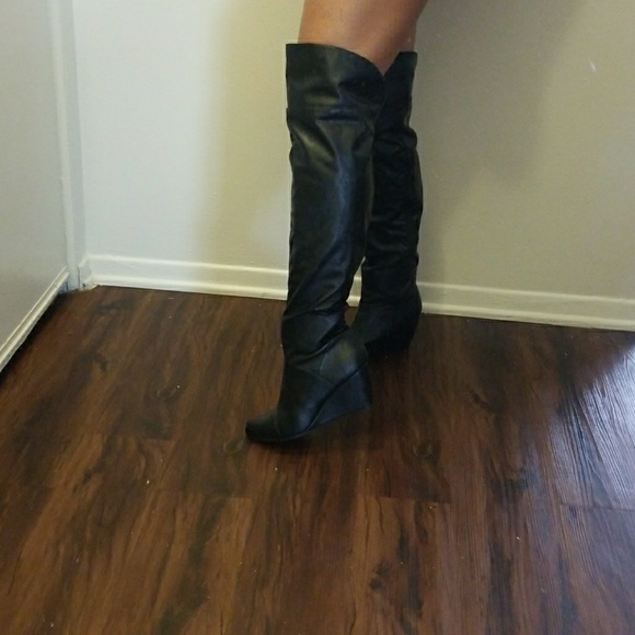 99aaf0b02fee BAMBOO Shoes - Sexy Black Thigh High Wedge Boots
