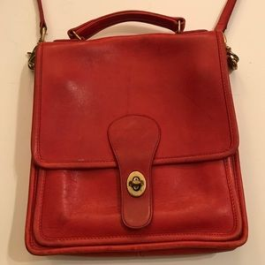 Vintage Coach  Red Leather Willis Bag, $100
