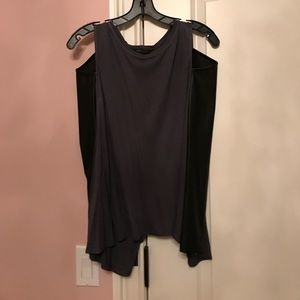 BCBG Maxazria cut out leather long sleeve top xs