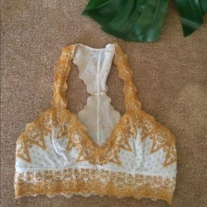 Free people lace bralette light blue and mustard