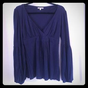 Navy blue long bubble sleeve Marty M Top Blouse