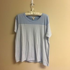 J. Crew Blue and White Striped Tee