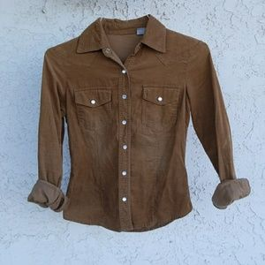 Vintage fall corduroy snap button up