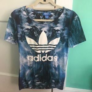 Adidas blue water trefoil oversized t shirt XS
