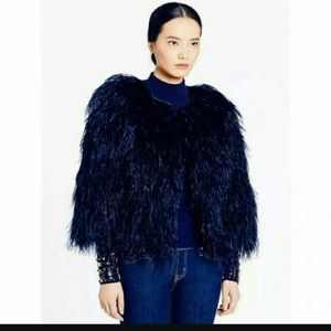 NWOT Kate spade 100% ostrich feathers light cape
