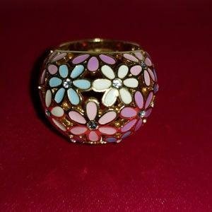 Coach Signature Enamel Flower Pave Dome Ring