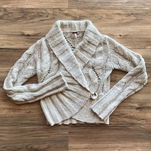 Free People Cable Knit Shawl Collar Cardigan