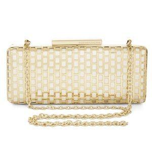 BCBGMAXAZRIA Minna Cage Clutch Bag, White/Gold
