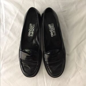 Ferragamo Patent Leather Penny Loafers, Size 8.5B