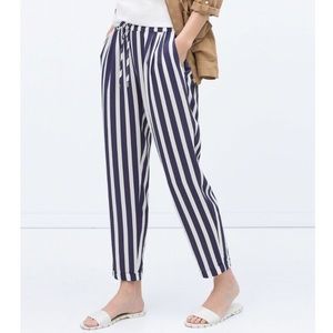 Zara navy and white striped pants size Small