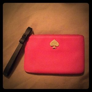Kate Spade Hot Pink Leather Clutch Wristlet