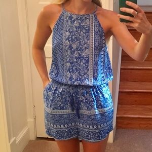 Blue paisley high neck romper small