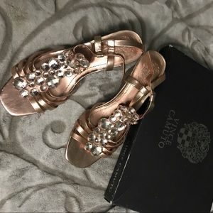 Vince Camuto jeweled wedges (rose gold)