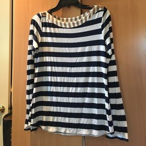 Navy blue and white stripped shirt