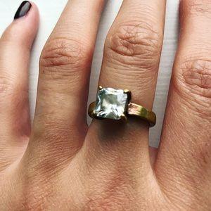 Vintage boho brassy gold milky white diamond ring