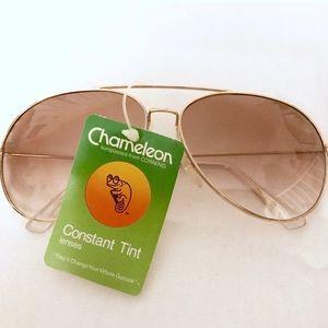Deadstock Gold Aviator Sunglasses, Vintage