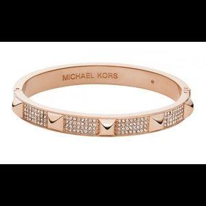 Michael Kors Pave Studded Rose Gold-Tone Bangle