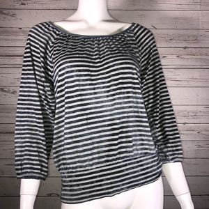 Chicos Striped Distressed 3/4 Sleeve Blouse