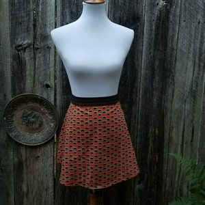 Free People Rust Patterned Cut Out Skirt