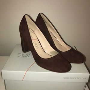 "Sole Society ""Giselle"" suede block heel"