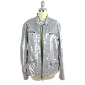 Chico's Metallic Silver Leather Jacket 12