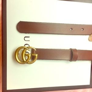 Authentic Gucci GG belt worn brown leather