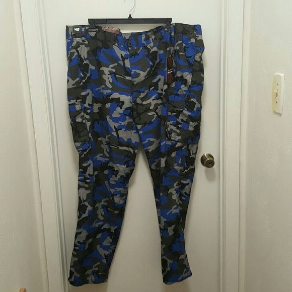 coupon codes wholesale new style Men's Royal Blue Camo Cargo Pants