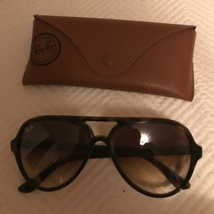 Ray Ban Aviators womens brown plastic frame & case