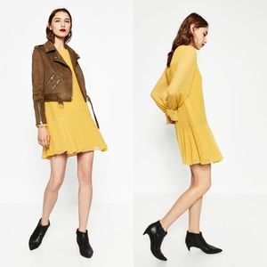 NWT Zara Plumetis Dress in Mustard Yellow Color
