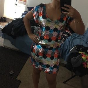 NWT French Connection paintbox sequin dress