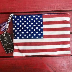 American Flag Canvas Clutch Bag W/ Tassel