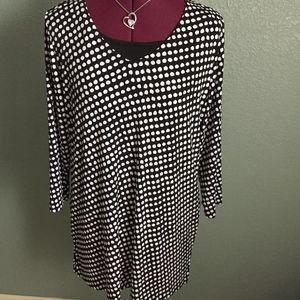 Polka Dot Tunic Blouse 3/4 sleeve