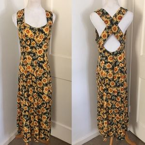 90s Retro Sunflower Maxi Dress