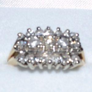 Ladies Diamond Three Row Ring