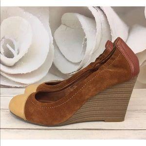 Lucky Brand Heels Wedge Gabrielle Suede Sz 10 M