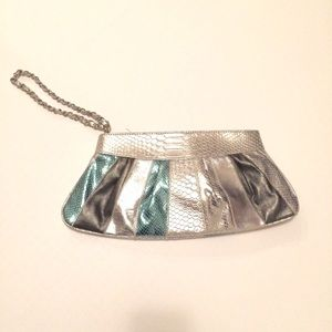 Silver and teal faux snakeskin clutch