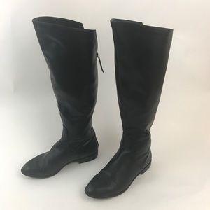 ZARA | Leather Knee High Black Boots