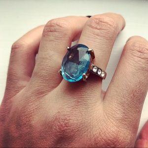 Vintage blue oval gemstone ring