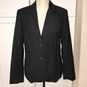 Black with blue pin stripes blazer