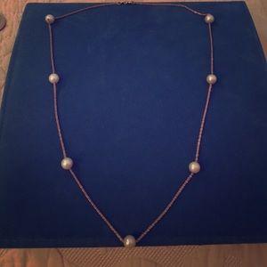 "Jewelry - Genuine pearl 14k station necklace 18"""