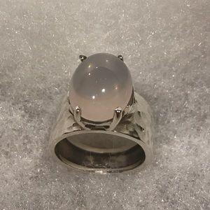 Rose Quartz Hammered Sterling Silver Ring