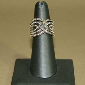 Crystal Gold Plated  Dome shaped Ring size 6
