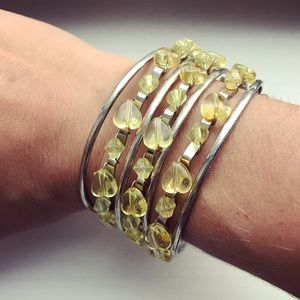 Jewelry - Silver & green beaded open cuff bracelet