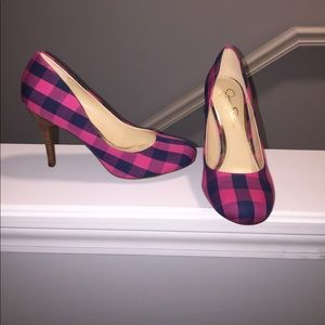 Pink & Navy Checkered Heels