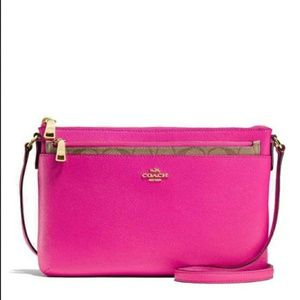 NWT Coach Leather BRIGHT FUCHSIA Cross Body Bag