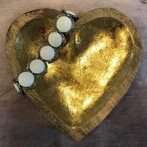 Chunky White and Rhinestone Bracelet