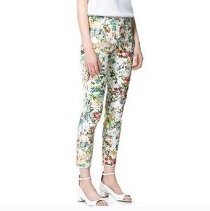 Zara | Floral Slim Leg Trouser Ankle Pants