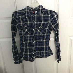 Divided (H&M) blue flannel, size 2
